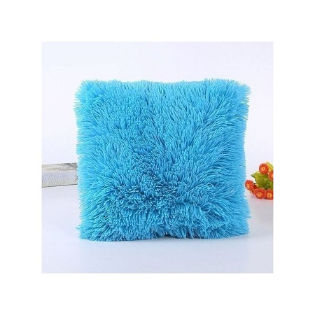 Throw Pillow with Fluffy Pillowcase Blue + free pillow