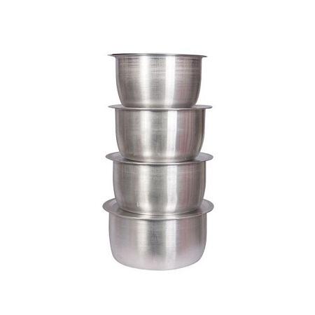 8 Pcs Set Of Stainless Aluminium Sufuria No 1.4 - Silver