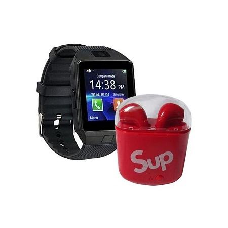 Bluetooth Smart Watch Plus Free Sup Earphones - Black