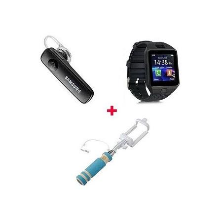 Dz09 Smart Watch Phone Touch screen + Free Bluetooth + Free Selfie Stick - Black