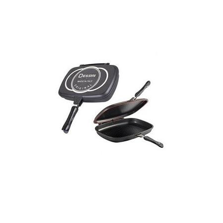Dessini Titanium Nonstick Double Pan 36CM, Omelette Pan, Flip Pan, Square, Dishwasher Safe, - Black