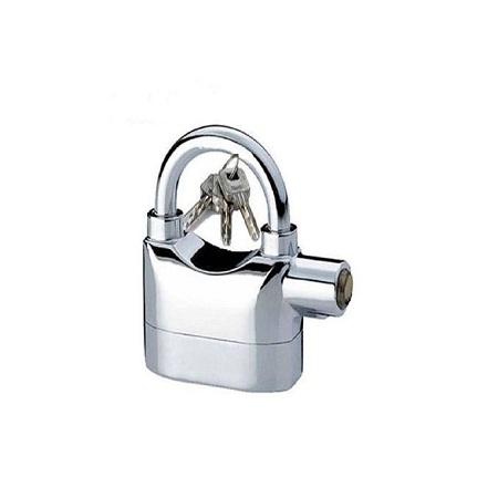 Kin Bar Quality Hardened Alarm Security Padlock - Silver