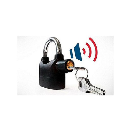Kin Bar Alarm Padlock Lock - Black