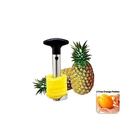 Pineapple Peeler Corer Slicer – Black & Silver - Get 2 FREE Orange Peelers