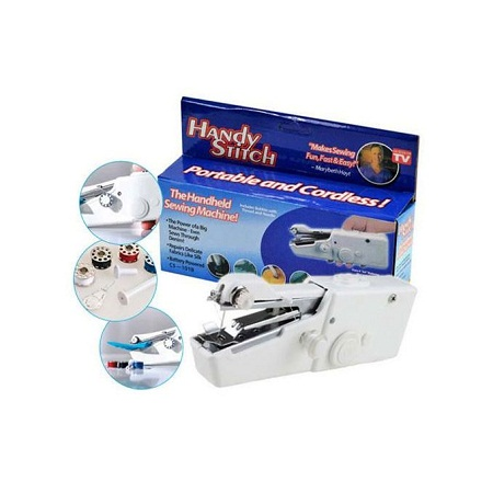 Portable Mini Handheld Sewing Machine Cordless Clothes Quick Stitch Tool - White
