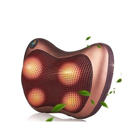 Generic Newly Multifunction Home Car Electric Body Massager Pillow Infrared Acupressure Shiatsu Neck Pain Relief Massage Machine Tool(#4 head UK plug
