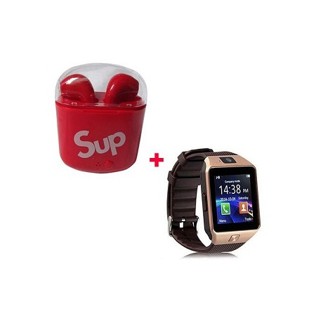 Smart Watch with Free Sup Wireless Earphones - Gold