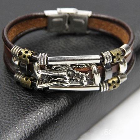 Fashion Dragon-Bite Leather Bracelet - Brown