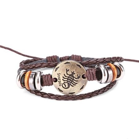 Fashion SCORPIO Constelation Bracelet - Brown