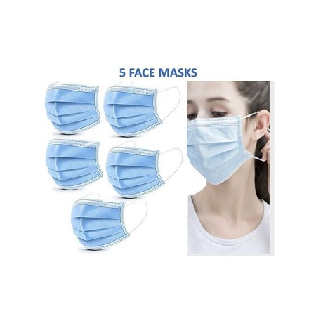 3 PLY Surgical Disposable Face Masks - 5 Pieces