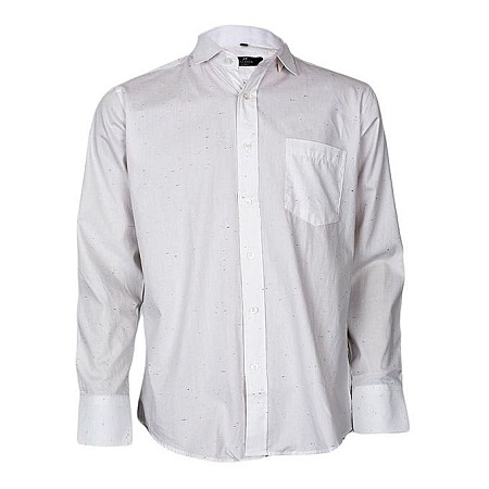 White Long Sleeved Formal Shirt With Subtle Prints