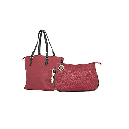 Maroon Red & Black 2 In 1 PU Leather Hand Bag