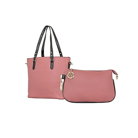 Mauve Pink & Black 2 In 1 PU Leather Hand Bag