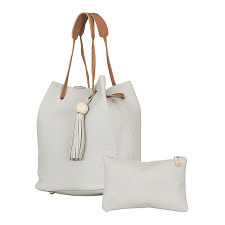Grey 2 In 1 PU Leather Hand  Bag