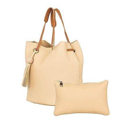 Cream 2 In 1 PU Leather Hand Bag