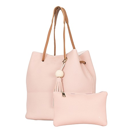 Pink 2 In 1 PU Leather Hand Bag
