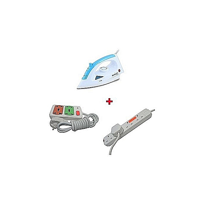 Scarlett Steam Iron Box + a Free 4-way Power Extension Cable and an extra 2-way Socket Extension Cable - 1200W