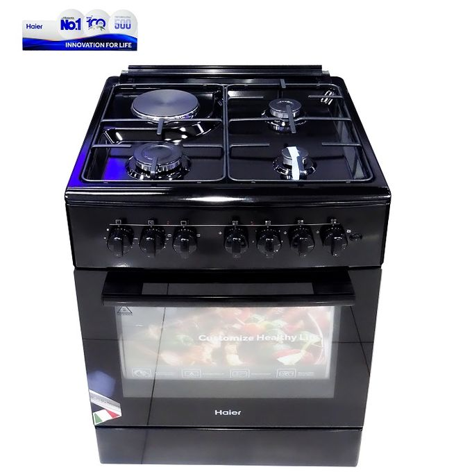 Haier HCR2040GEBB 3Gas + 1Electric With Electric Oven - Black
