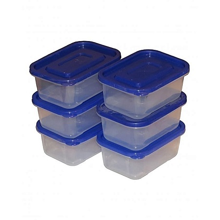 Set of 6 Clear Plastic Food Storage Containers 400ml-Multicolored