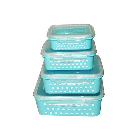 Locking Airtight Food Storage Container Lunch Box - Set of 4 Polka Dot