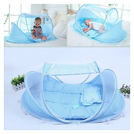 Portable Baby Crib Mosquito Net - Blue