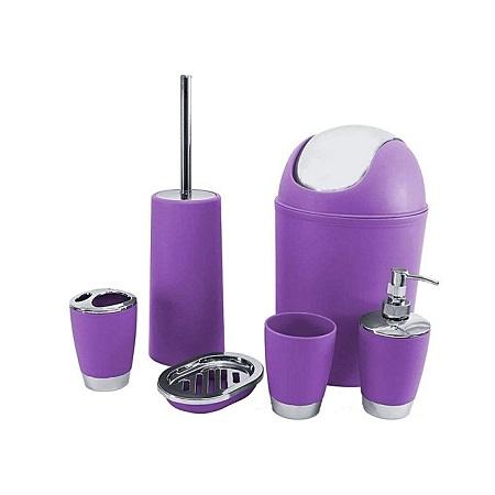 6Pc Bathroom Accessory Set Bin Soap Dish Dispenser Tumbler Toothbrush Holder - Purple
