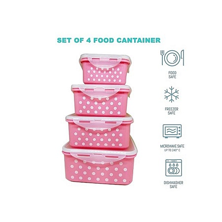 Locking Airtight Food Storage Container Lunch Box-Set of 4 Polka Dot Lancheira Container Dinner Set