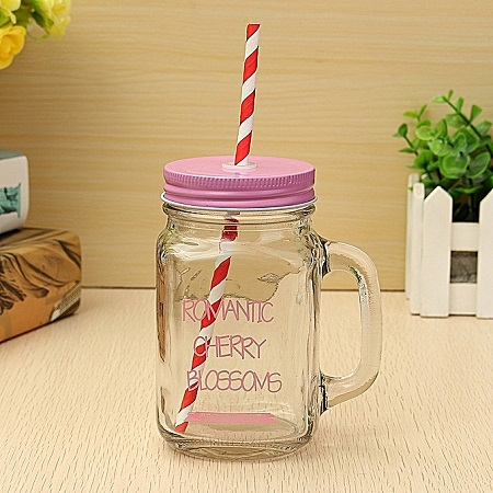 Transparent Mason Jar With An Extra Lid, straw and Jar Cleaner