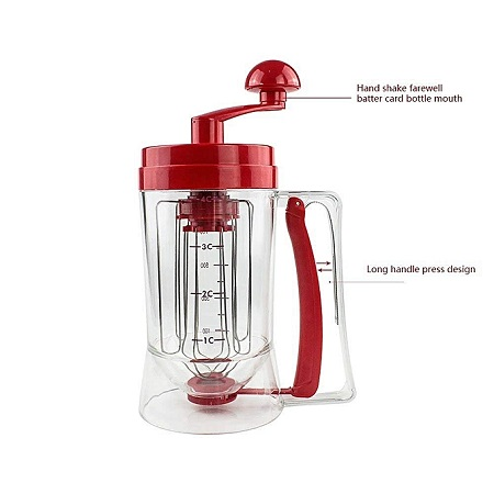 Perfect Manual Pancake Batter Dispenser Perfect Cupcakes Waffles Breakfast Mixer Mix With Measuring Label -Red