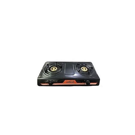 VELTON Two Burner Gas Cooker - VGS 7102B Black