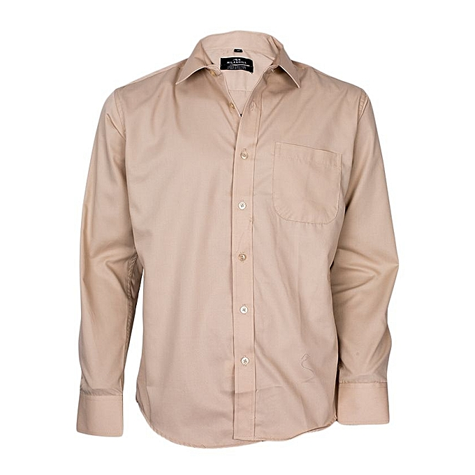 Beige Long Sleeved Formal Shirt