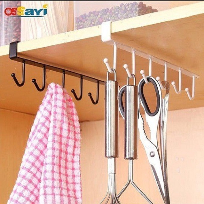 Generic 6 Hook Kitchen Mounted Under Cabinet Shelf Rack