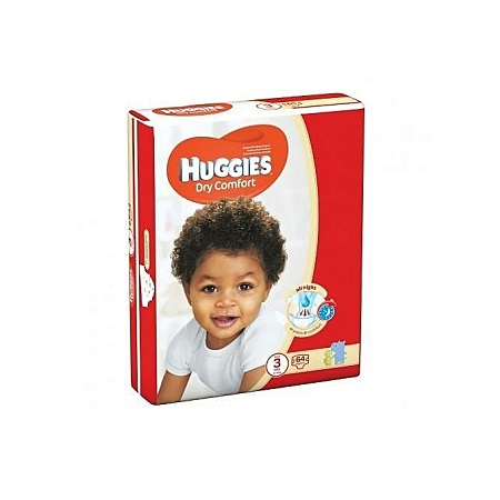 Huggies Dry Comfort Diapers, Size 3 (5-9kgs), (Count 64)
