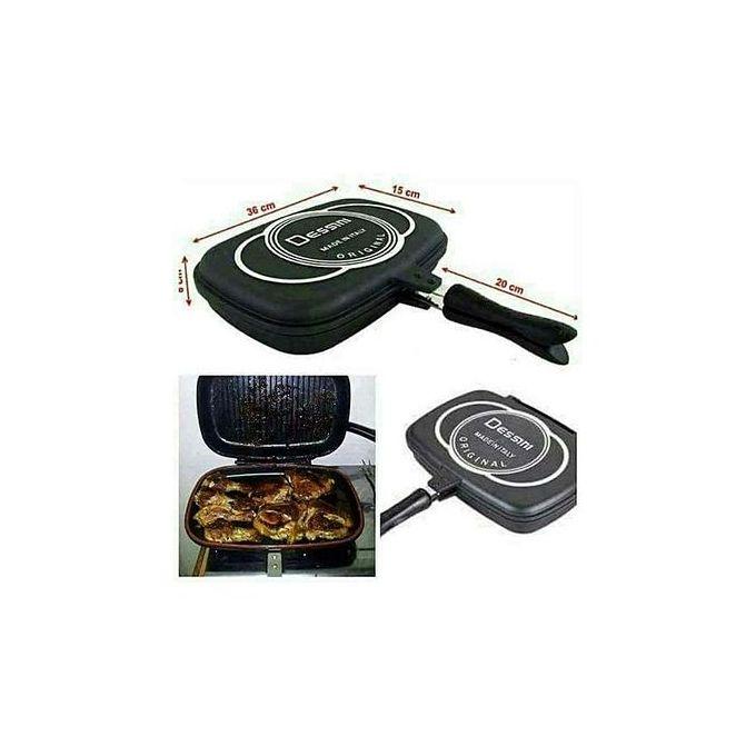 Dessini Aluminum Two-Sided Double Grill Non-stick Pressure Pan 36cm - Black