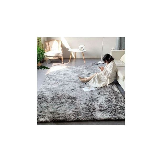 Generic Fluffy Carpets 5*8 Grey Patched