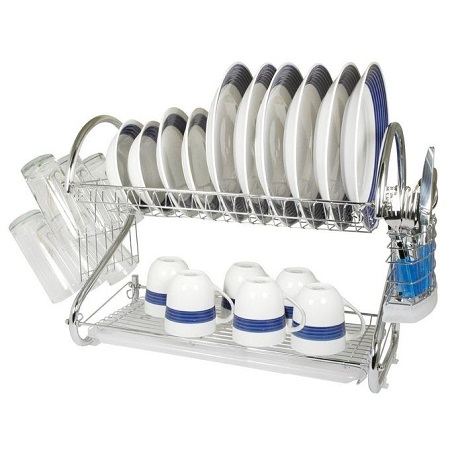 High Quality Stainless Steel 2 Tier Kitchen Dish Rack Storage Rack Drain Dish Rack
