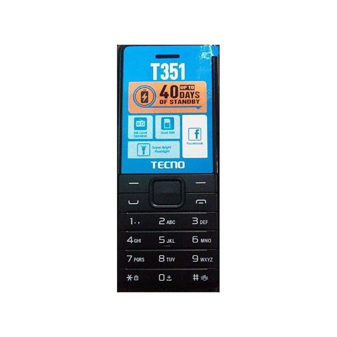 Tecno T351 Dual Sim Camera - Torch Light - FM Radio Loud Speaker- 1900mAh - Black