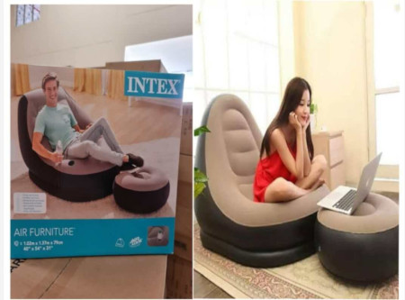 INTEX Inflatable Seat With Footrest + Manual Pump