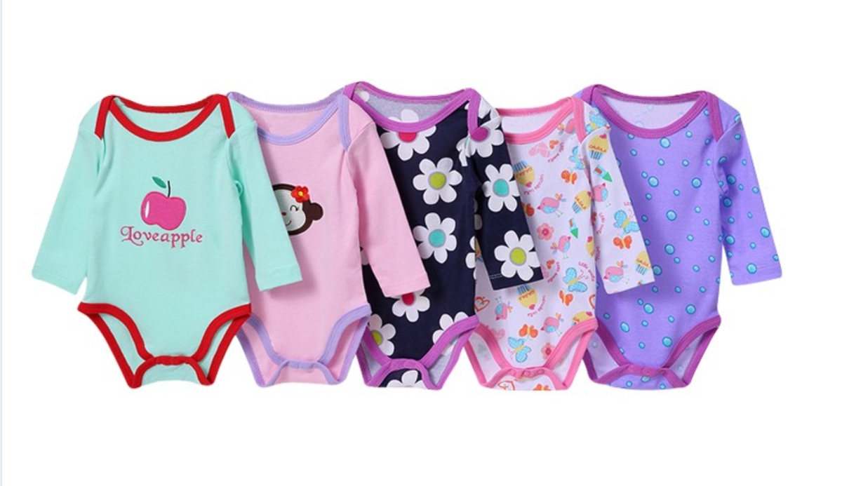 Carter's 5 Pack Girls Cotton Bodysuits/Rompers - Different colors