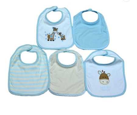 5 Pieces of Washable Cotton Bibs - Giraffe (free size)