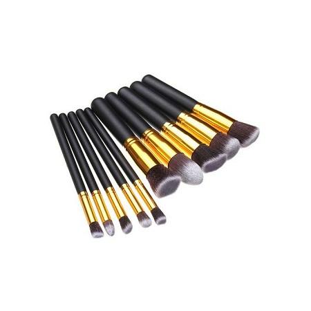 10Pcs Makeup Brush Set Black