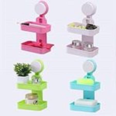 2 Tier Suction Type - Bathroom Soap Dish multi-color