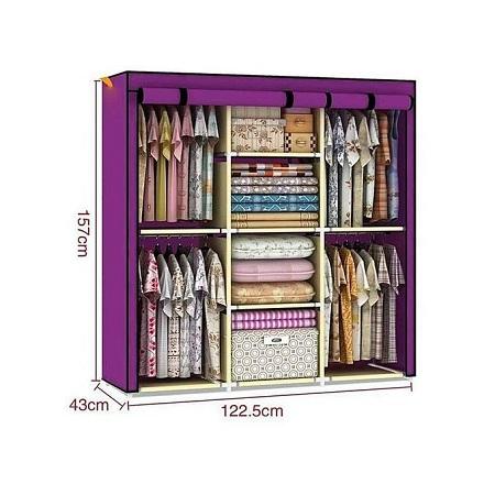 3 Columns Portable Wardrobe purple