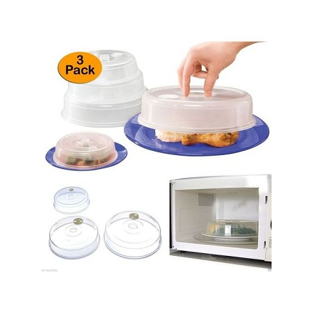 Set of 3 Ventilated Microwave Plate Covers – Microwave Food Covers