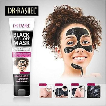 Black Peel-off Face mask Collagen and Charcoal Whitening Acne Blemish Deep Cleansing Oil black