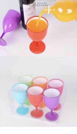 Colored acrylic wine glasses