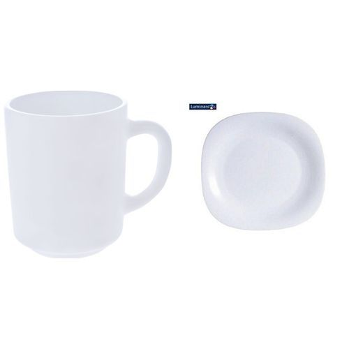 Generic Dinner Plates 6 Pieces + 6 Pcs of Cups - White