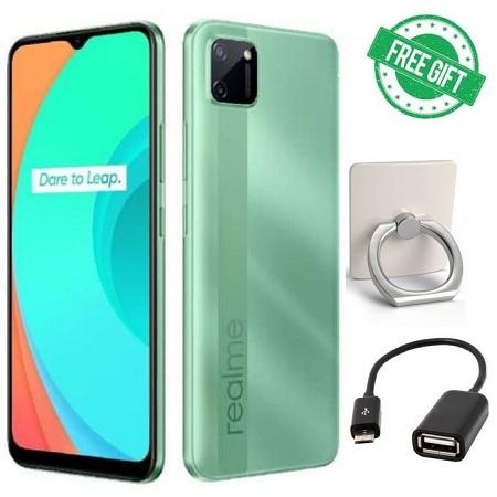 Realme C11, 32+2GB, 6.5 Inch DUAL SIM ,5000MAH,ANDROID_ GREEN+free Otg &ring