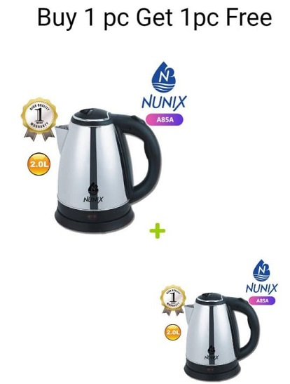 Nunix Stainless Steel 2.0L Cordless Kettle - BUY ONE GET ONE FREE