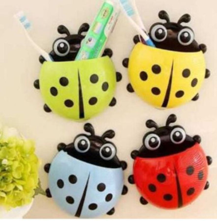 Ladybug Cartoon Suction Cup Wall Mounted Toothbrush Holder